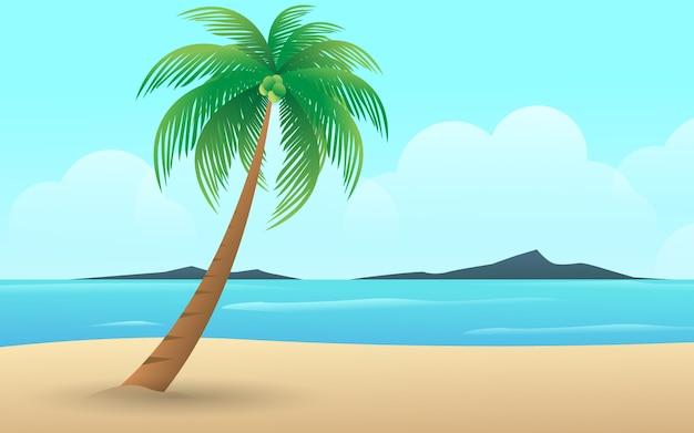 Wyrzucać na brzeg z krajobrazowym widokiem w wakacje letni tropikalny wyspa drzewka palmowego wektorowy projekt