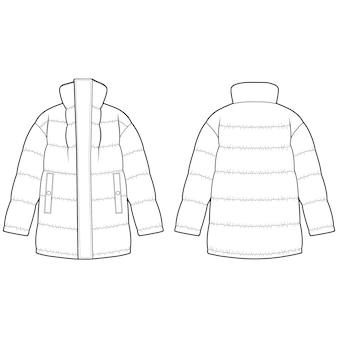 Wyściełana kurtka moda płaski szablon szkicu