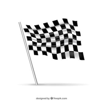Wyścig flagi w kratkę z realistycznym projektem