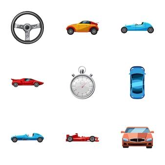 Wyścig i nagradzanie zestaw ikon, stylu cartoon