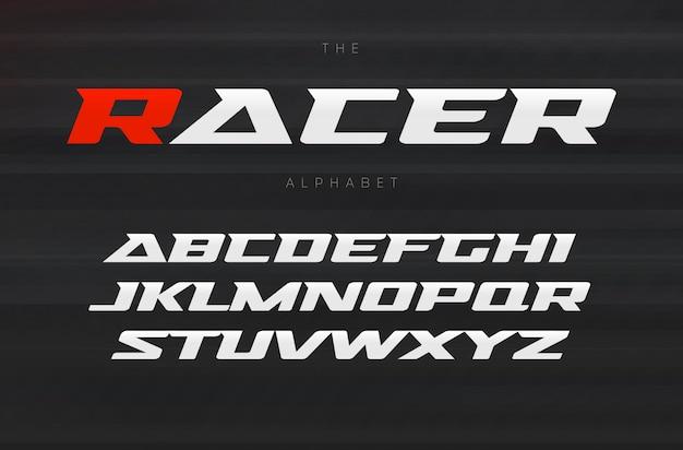Wyścigi, agresywna i stylowa czcionka. dynamiczne litery, kursywa szeroka czcionka z nowoczesnymi szeryfami, alfabet sportowy. projekt typografii.