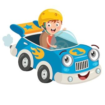 Wyścigi dzieci z zabawnym samochodem