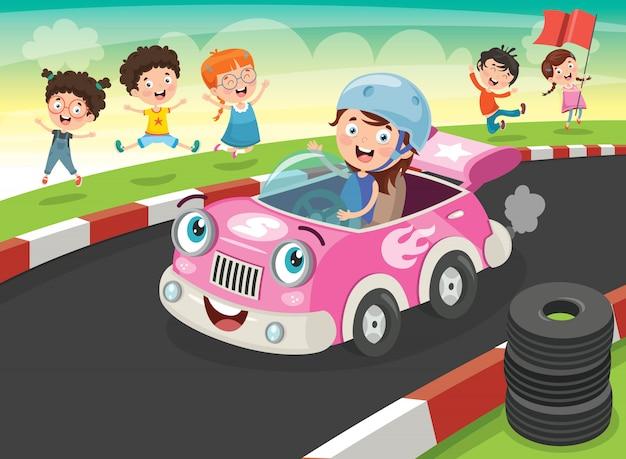 Wyścigi dzieci z zabawnymi samochodami