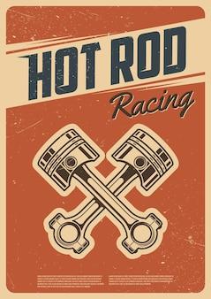 Wyścigi hot rod. plakat retro. zabytkowy styl
