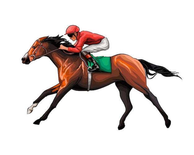 Wyścigi konne z dżokejem z odrobiny akwareli kolorowy rysunek realistyczny jazda konna