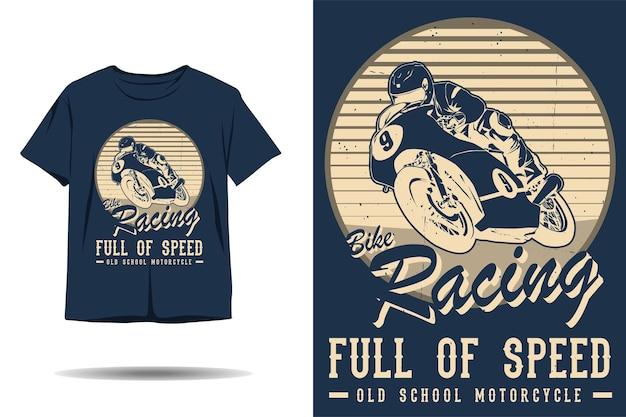 Wyścigi rowerowe pełne prędkości old school motocykl sylwetka projekt koszulki