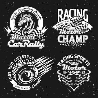 Wyścigi samochodów, rajd samochodowy, symbole sportów motorowych