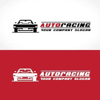 Wyścigi samochodowe i szablon logo.