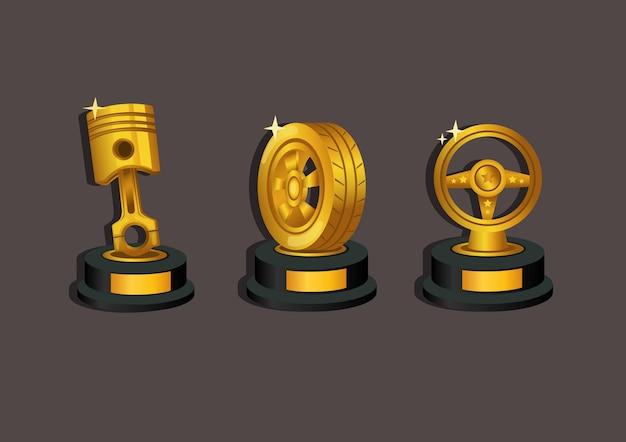 Wyścigi samochodowe złoty tropy symbol nagrody ikona zestaw ilustracja koncepcja