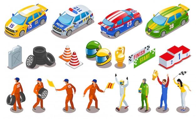 Wyścigi sportowe ikony zestaw symboli wyścigowych izometryczny na białym tle