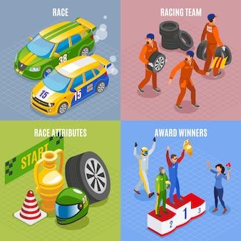 Wyścigi sportowe koncepcja ikony zestaw z wyścigi zespołu i zwycięzców symboli izometryczny na białym tle