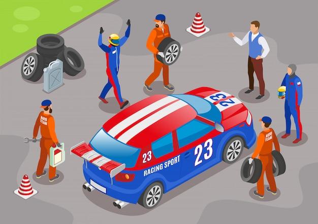 Wyścigi sportowe ze zwycięzcami symboli zespołu wyścigowego izometryczny