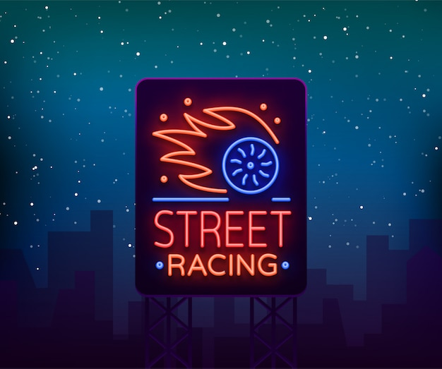 Wyścigi uliczne billboard logo emblemat szablon wektor logo w stylu neon.