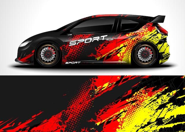 Wyścigowy samochód sportowy. owiń naklejkę i malowanie pojazdu.