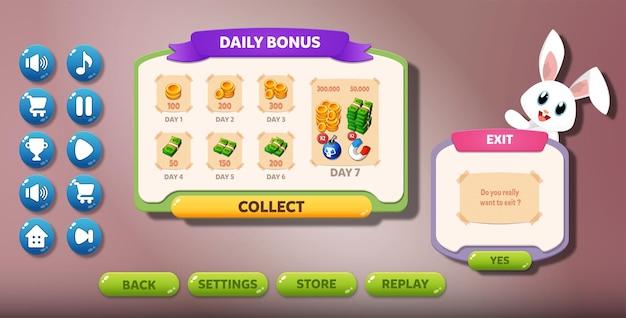 Wyskakujące menu interfejsu użytkownika gry casual
