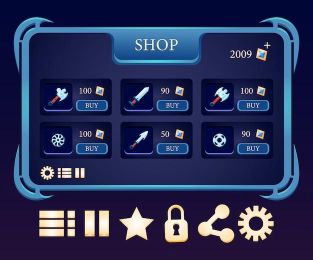 Wyskakujące menu sklepu z bronią i różne gry do gier rpg