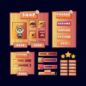 Wyskakujące menu starego drewnianego zestawu interfejsu gry z przyciskiem i ikoną paska postępu