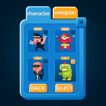 Wyskakujące menu wyboru postaci odpowiednie do gier