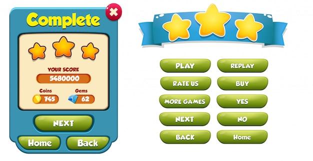 Wyskakujące menu z kompletnym poziomem z wynikiem gwiazdek i gui przycisków