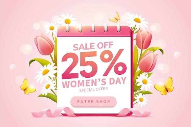 Wyskakujące reklamy dotyczące wyprzedaży z okazji międzynarodowego dnia kobiet