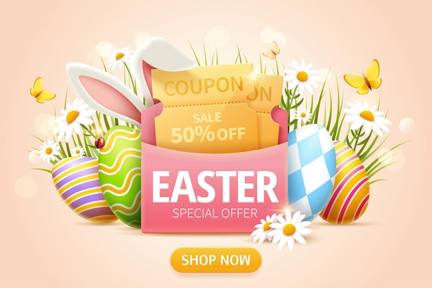 Wyskakujące reklamy wielkanocne z kuponem w różowej kopercie i pisanki w trawie