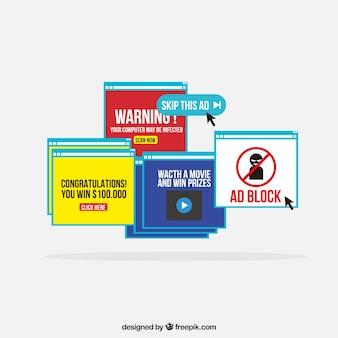 Wyskakujący blok reklamowy z płaskim płasko-deisgn