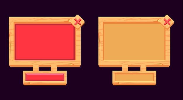 Wyskakujący interfejs z drewnianą tablicą do elementów interfejsu gry