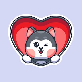 Wyskakujący uroczy pies husky z kreskówki serca