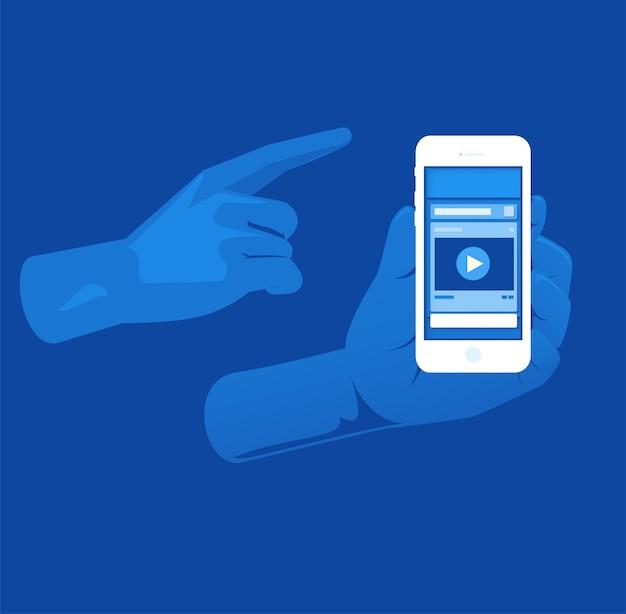 Wyskakuję ... ca warstwa wyś wietlania w mediach społecznościowych z odcieniem niebieskiego