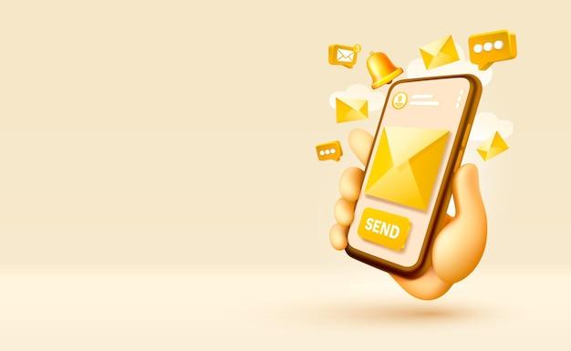 Wyślij wiadomość e-mail smartfon z ekranem mobilnym technologia mobilny wektor wyświetlania