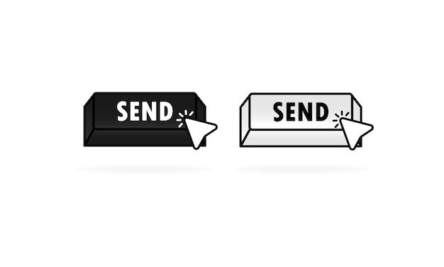 Wyślij zestaw ikon przycisku z kursorem, wskaźnikiem. ilustracja wektorowa. przycisk strony internetowej firmy z wyślij znak.
