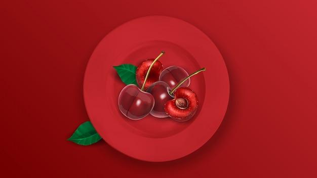 Wyśmienicie soczyste wiśnie na czerwonym talerzu.