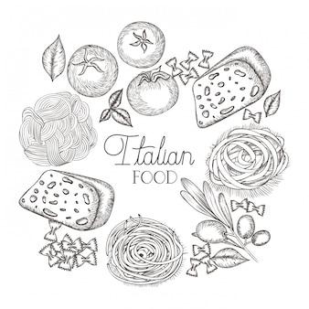 Wyśmienicie włoski jedzenie w rysunku