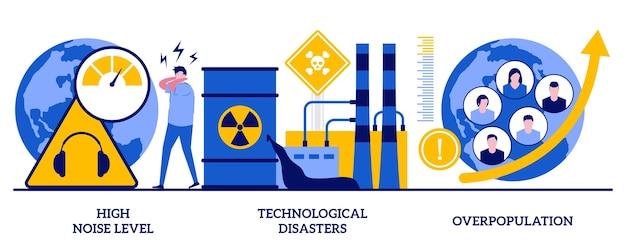 Wysoki poziom hałasu, katastrofy technologiczne, koncepcja przeludnienia z malutkimi ludźmi. problemy środowiskowe spowodowane czynnikiem ludzkim, negatywny wpływ na zestaw ilustracji wektorowych streszczenie natura.