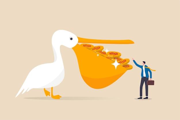 Wysoki zwrot z inwestycji, okazyjny zakup akcji z wysokim zyskiem i dywidendą, koncepcja zarządzania oszczędnościami i bogactwem, ptak pelikan z pełnymi dolarowymi monetami w ustach, dając bogaczowi inwestorowi