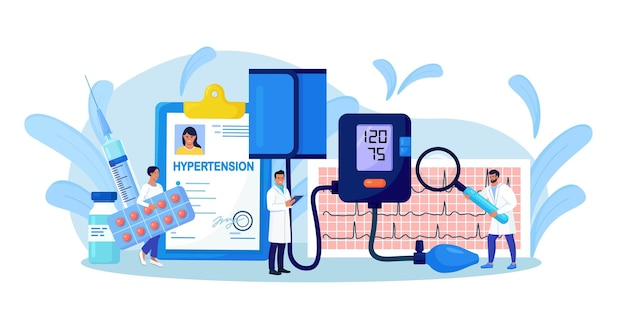 Wysokie ciśnienie krwi. badanie lekarskie i kontrola kardiologiczna. mali lekarze mierzący ciśnienie krwi pacjenta za pomocą sfigmomanometru. leczenie, profilaktyka niedociśnienia i nadciśnienia tętniczego