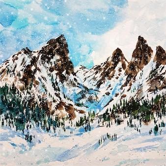 Wysokie Góry Pokryte śniegiem Darmowych Wektorów