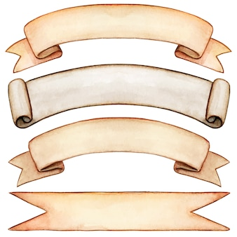 Wysokiej jakości akwarela przewijania w stylu vintage banery
