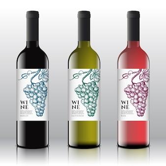 Wysokiej jakości czerwone, białe i różowe etykiety na wino ustawione na realistycznych butelkach.