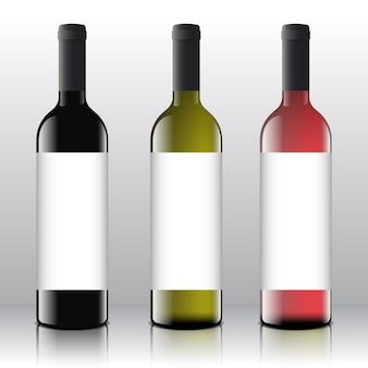 Wysokiej jakości czerwone, białe i różowe puste etykiety na wino ustawione na realistycznych butelkach.