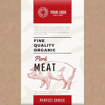Wysokiej jakości ekologiczna wieprzowina. streszczenie opakowania lub etykiety mięsa.