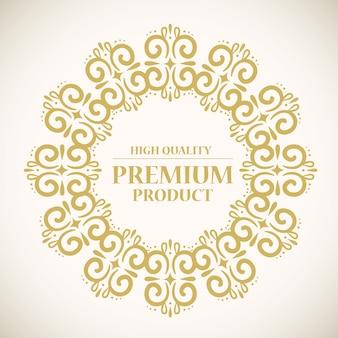 Wysokiej jakości etykieta produktu premium w złotej okrągłej ramce