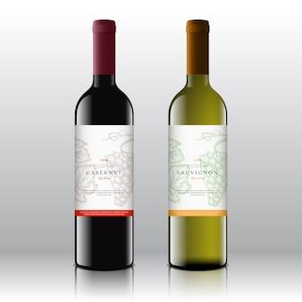 Wysokiej jakości etykiety na wino czerwone i białe na realistycznych butelkach. czysty i nowoczesny z ręcznie rysowanymi winogronami, liśćmi i typografią retro.
