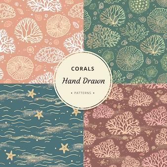 Wysokiej jakości morskie wzory bez szwu korali z koralowcami. zestaw