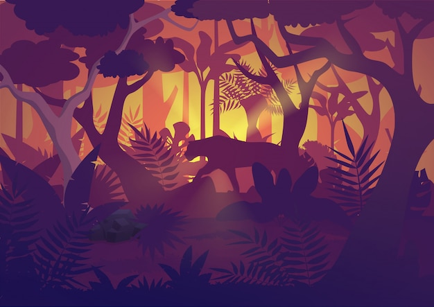 Wysokiej jakości poziome tropikalne lasy deszczowe tło dżungli z tygrysim jaguarem.
