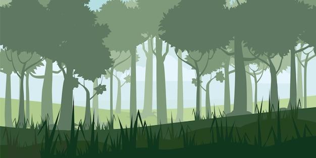 Wysokiej jakości tło krajobrazu z głębokim lasem liściastym