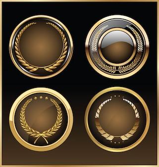 Wysokiej jakości złota kolekcja retro etykiety