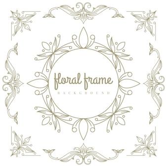 Wysokiej jakości złote logo z kwiatową ramą
