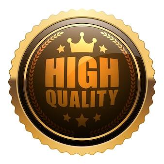 Wysokiej jakości znaczek z błyszczącym brązowym złotym metalicznym wieńcem laurowym korona 5 gwiazdek okrągłe logo vintage