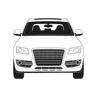 Wysokiej klasy samochód w rysunku technicznym